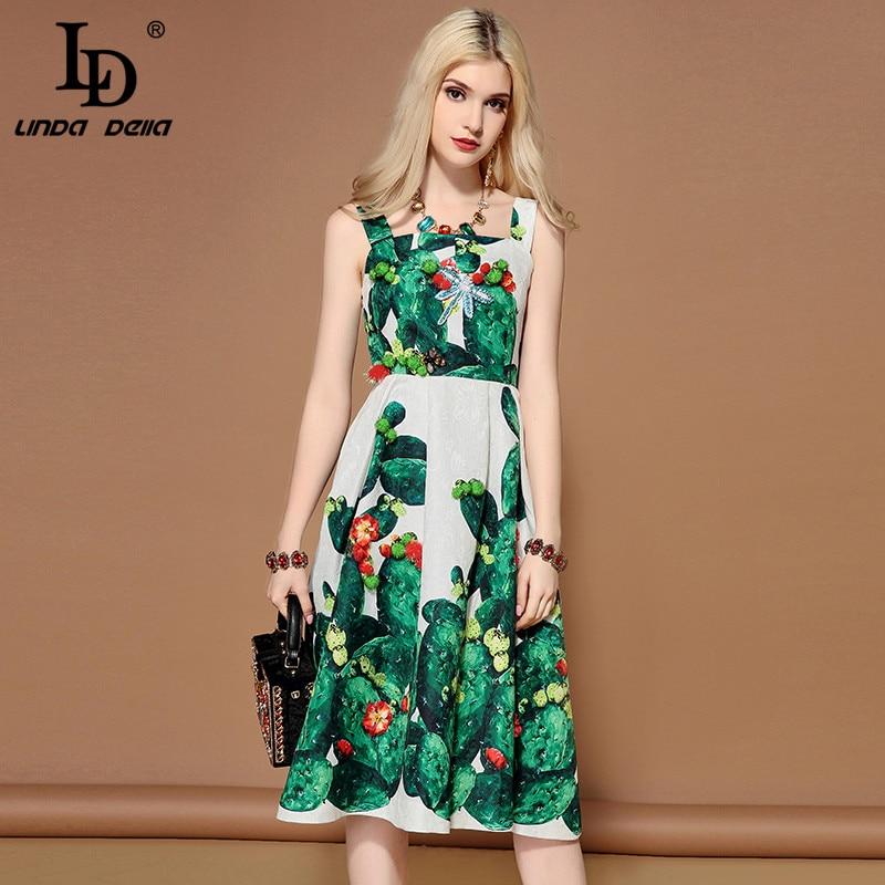 LD LINDA DELLA 2019 Fashion Runway Summer Dress Women s Sleeveless Crystal Beading Green plant Cactus