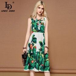 LD LINDA DELLA 2019 Fashion Runway Summer Dress Women's Sleeveless Crystal Beading Green plant Cactus Printed Casual Dress