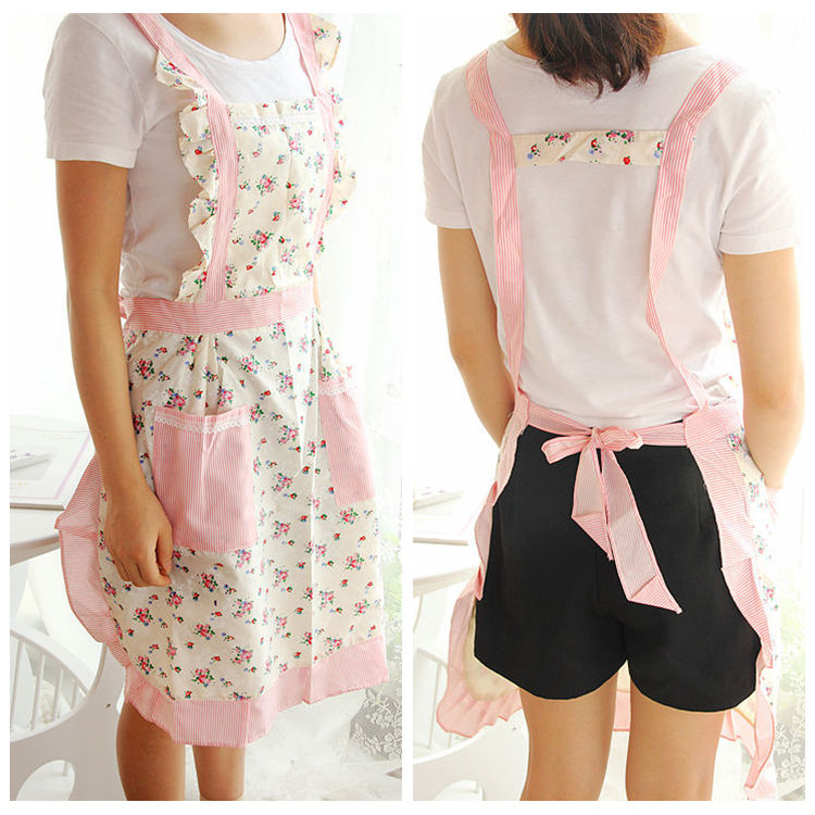 beautiful Protective Clothing In The Kitchen #5: Korean fashion lovely pastoral small floral cotton cloth apron, princess style protective clothing, kitchen waterproof aprons