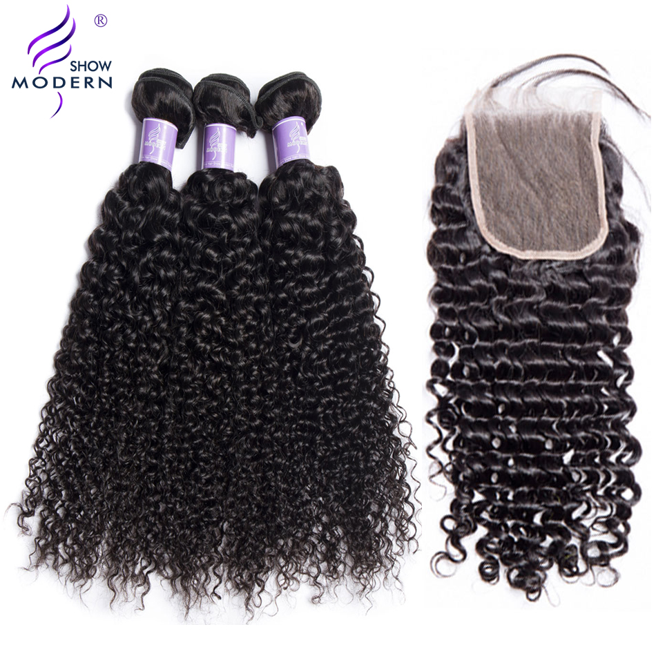 Modern Show Kinky Curly 4 Bundles With Lace Closure Brazilian Hair Weave Non Remy Hair Extension Human Hair Bundles With Closure ...