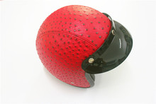 Red helmet Harley Leather  motorcycle leather helmet retro vintage motocross helmet 3/4 open face scooter helmets XL fit women