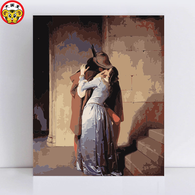painting by numbers art paint by number Francesco Hayez Kiss A close couple of intimate scenes in the hallway pictures by number
