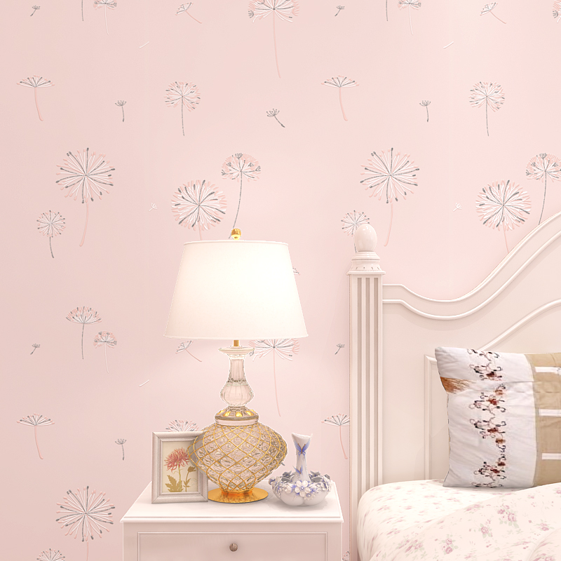 Modern korean style dandelion wallpaper for girls bedroom for Pink and grey bedroom wallpaper