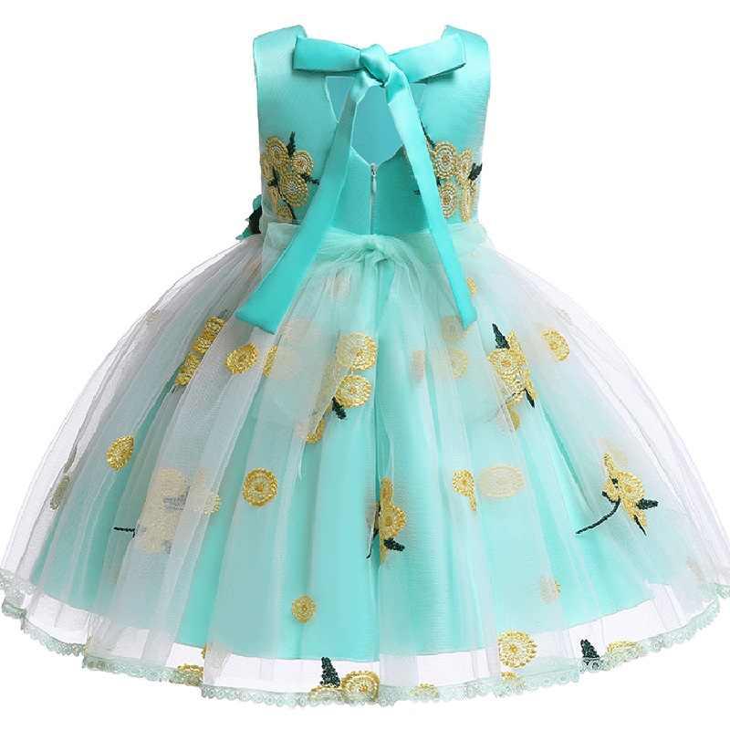 Elegante Ragazza di Fiore di Cerimonia Nuziale Del Partito di Pranzo Stampato Vestiti della ragazza Prima Vestito Da Prestazione per Eucaristia Partito vestidos de fiesta