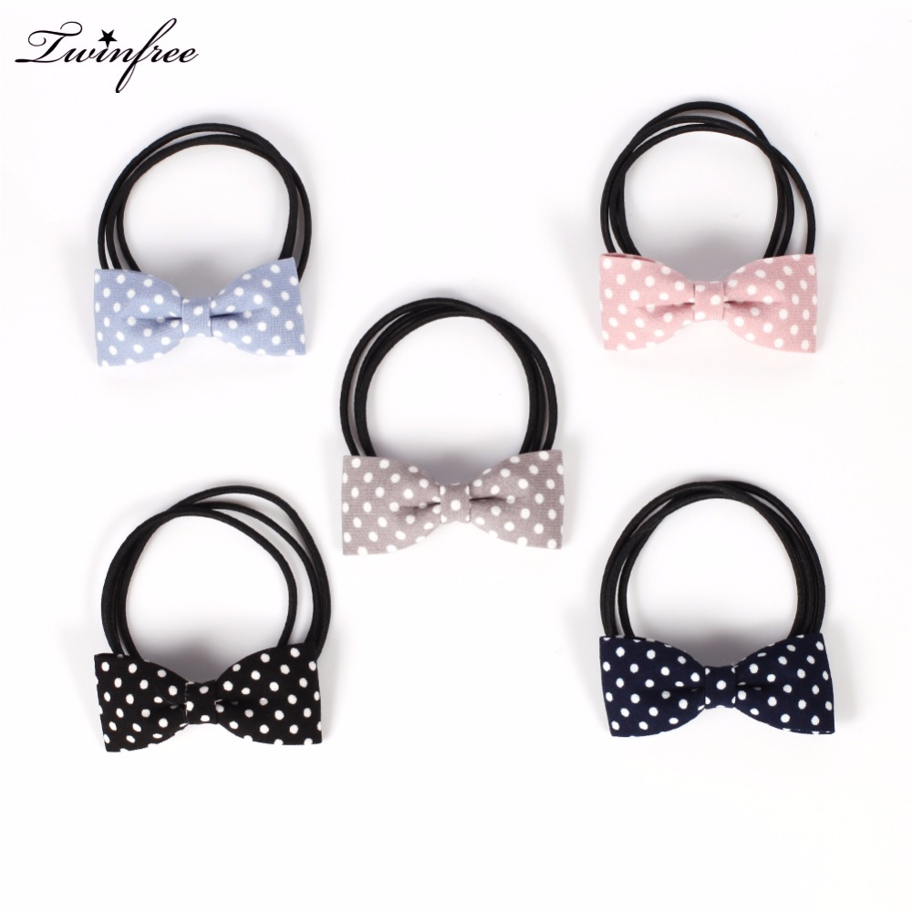 5 Styles Cute Bow Tie Hair Bands for Kids 5cm Dot Style Headbands   Headwear   Women Girls Striped Hair Rope Hair Accessories