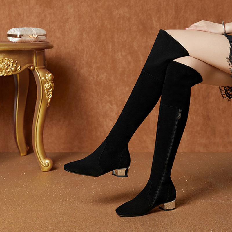 New Womens Black Leather Shoes with Long Toes, Low Heels and Rough Heels in 2019New Womens Black Leather Shoes with Long Toes, Low Heels and Rough Heels in 2019