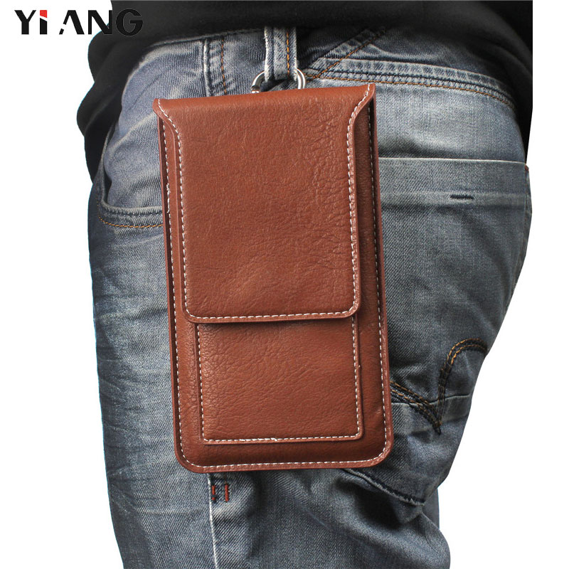 YIANG Small Waist Bag PU Leather Simple Mobile Phone Bag For IPhone/Samsung/Huawei Belt Clip Case Casual Waist Packs Phone Pouch