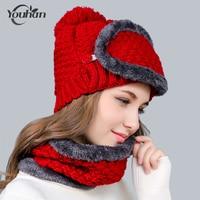YOUHAN 2018 Fashion Winter Women Hat Collar Mask Set Wool Knitted Cap Female Scarf Pompom Fur Cap Plus Velvet Cap Christmas Gift