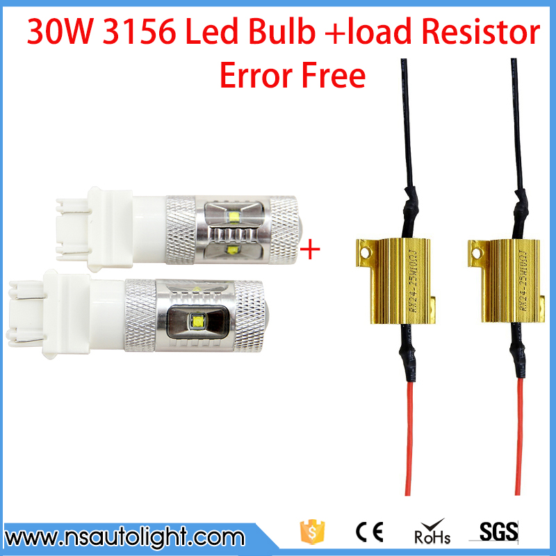 2Pcs 3157 3156 30W Cree Led Chip Lamp car Bulb Auto p27/7w led car bulbs rear brake Light +2pcs load resistors canbus canceller all in one canbus 80w 8000lm cree chip led h4 hi