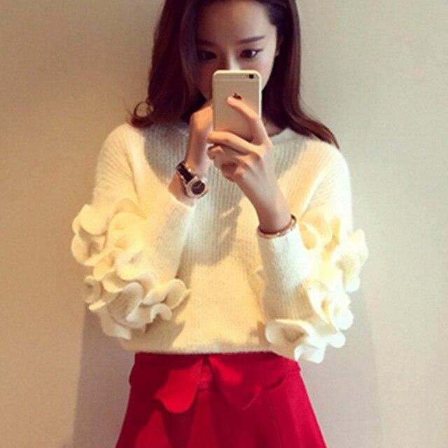 2016 Lolita Sweet Prince Mohair Sweater Women Ruffles Sleeve Short Pullover Jumper Crop Sweater Knitwera Outfit Winter Outwear