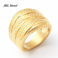 New Design Luxury Gold Color Multilayer Cross Love Promise Ring Stainless Steel Wedding Band Rings For