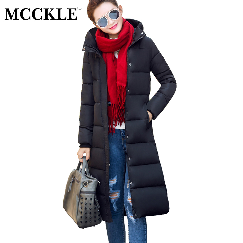 MCCKLE 2017 Winter Long Parka Hooded Jacket Women Winter Cotton Padded Thick Warm Pockets Outwear Coat Wadded Jacket Plus Size 2014 new winter women cotton padded down jacket coat hooded loose plus size coats warm thick outwear big pockets ry143