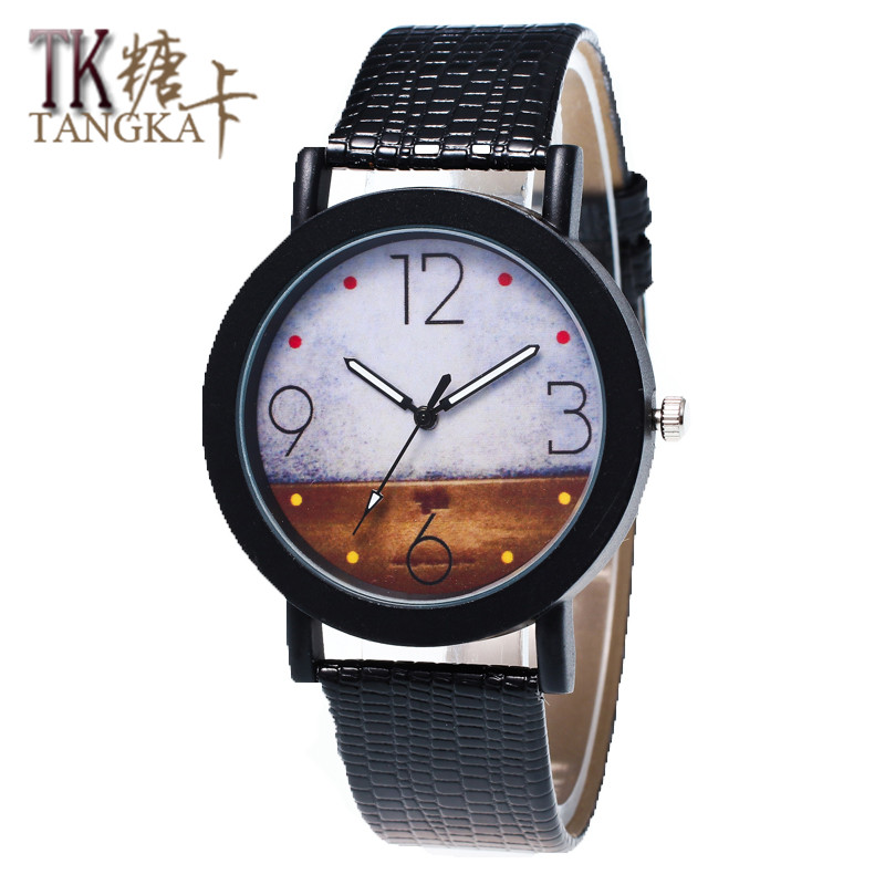 New Simple Female Watch Round Mirror Clock Shows Solid Crocodile Leather Strap Quartz Watch