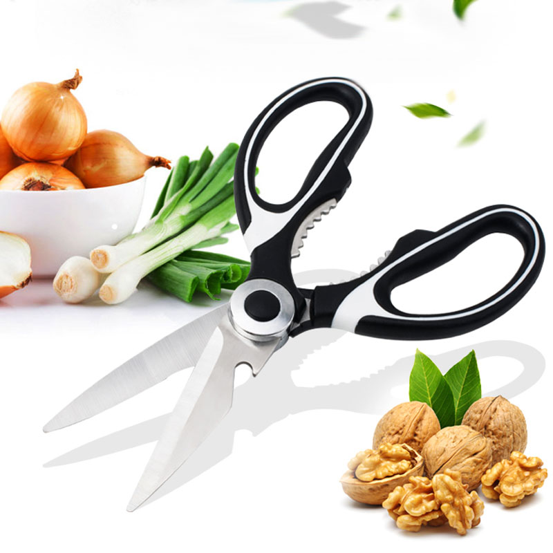 Hot Stainless Steel Kitchen Scissors Multipurposes Shears Specialty Tool Chicken Poultry Fish Meat Vegetables Herbs Q's 9 JDH99