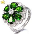 Hutang 5.12CTW Natural Chrome Diopside Flower Ring Solid 925 Sterling Silver Women's Vivid Green Gemstone Fine Jewelry 2017 New