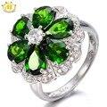 Hutang 5.12ctw chrome diópsido natural vivid flor anillo de plata esterlina del sólido 925 de las mujeres verde de la piedra preciosa joyería fina 2017 nuevo