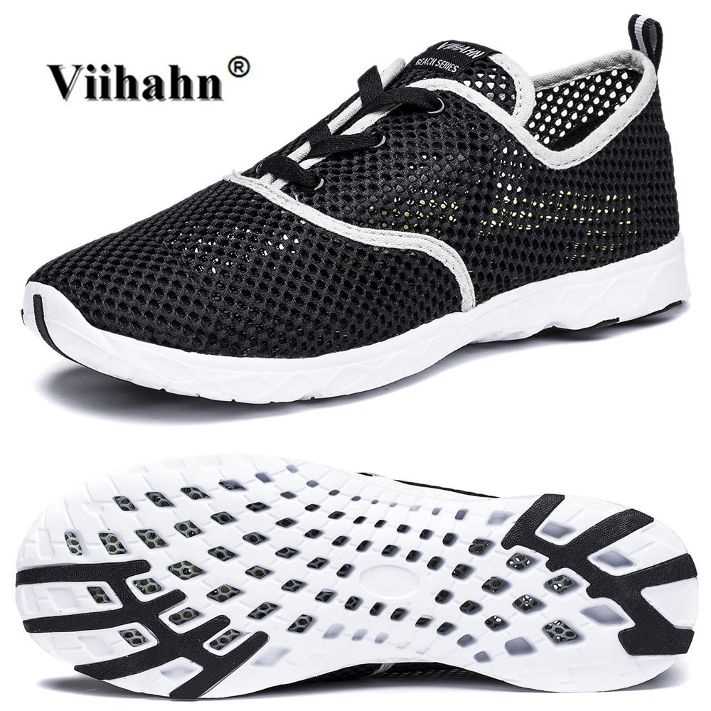 3e2a64a576f7 Viihahn Mens Casual Shoes Summer Breathable Mesh Water Shoes Lace Up or  Slip On Quick Drying Water Grip Outsole Aqua Shoes