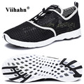 Viihahn Mens Water Shoes Summer Breathable Mesh Waterproof Lace Up or Slip On Quick Drying Water Grip Outsole Aqua Shoes