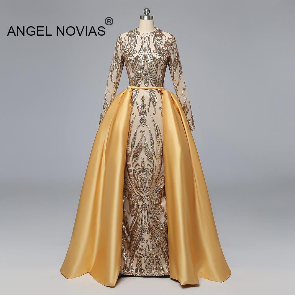 Angel Novias Long Sleeves Muslim Gold   Evening     Dress   2019 Arabic Abendkleider Prom Party Gown 2019 with Detachable Skirt