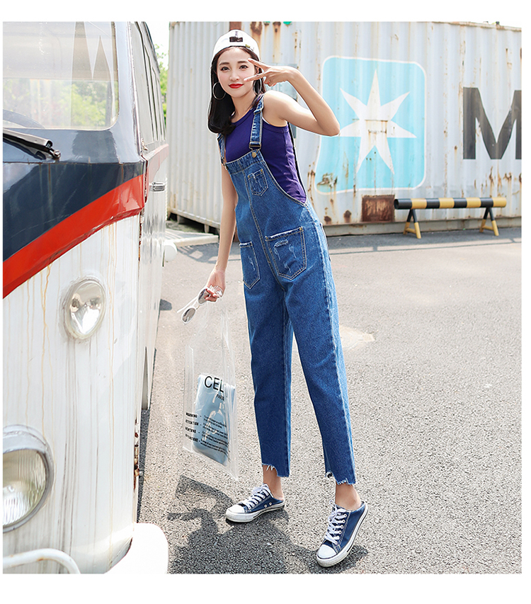 Stylish suspender jeans. College style, casual denim pants. (27)