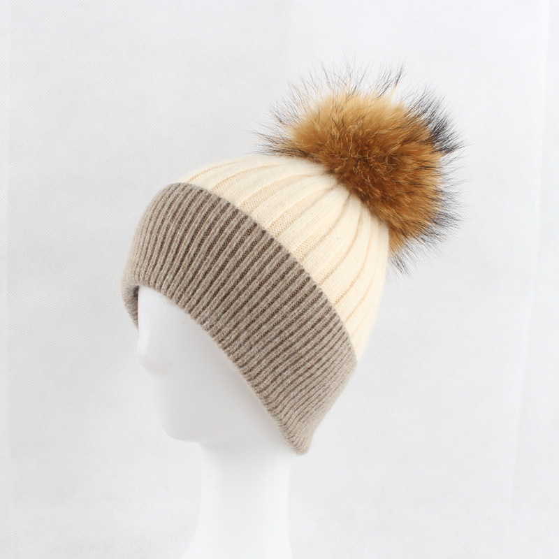 Russian Women's Striped Wool Skullies Beanies Hats Raccoon Fur Pom Pom Hat Female Winter Warm Caps Fashion Headgear LF4070 skullies