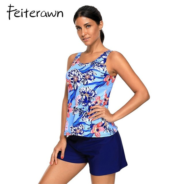 c2debe93e0529 Feiterawn Plus Size Swimsuits Women Red Black Floral Print Tankini and Short  Swimsuit Bathing Suit Large Swimwear Swimsuits