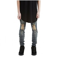 High Street Kanye West Big Knee Hole Black Distressed Slim Boots Jeans Mens Stonewashed Ripped Jeans