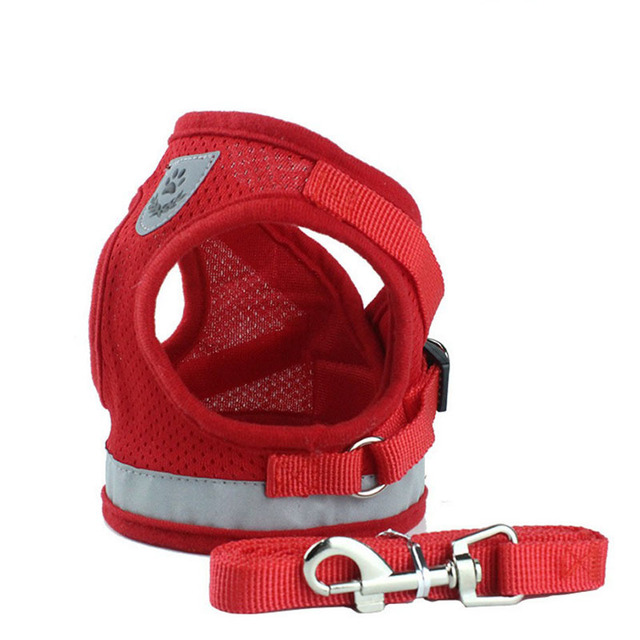 Mesh Reflective Pet Dog Collar Leash Dog Harness for Small Medium Large Dogs Nylon Puppy Dogs Cats Harness Leash Lead Great