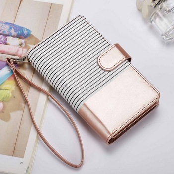 Leather Flip Detachable Wallet Case For iPhone X 7 8 Plus Luxury Striped Design Cover With Cardit Card Slot For iPhone 6 6S Plus Кошелёк