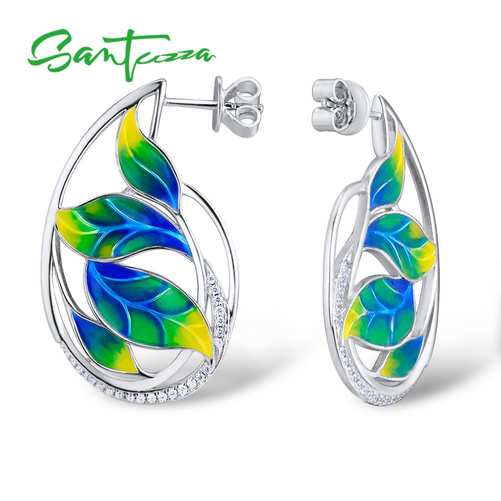 SANTUZZA Silver Earrings For Women 925 Sterling Silver Leaves Earrings White Cubic Zirconia Glamorous Jewelry Handmade enamel недорго, оригинальная цена