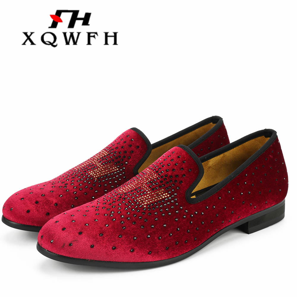 Red Shoes 2019 New Men Loafers Exquisite Crystal Men Wedding and Party Shoes men's flat Size 13 Men shoes