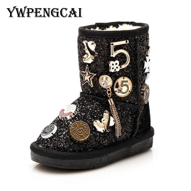Size 26 37 Fashion Metal Decoration Children Winter Boots Thick Warm Fur Kids Snow Boots Girls Shiny Sequined Boots-in Boots from Mother & Kids