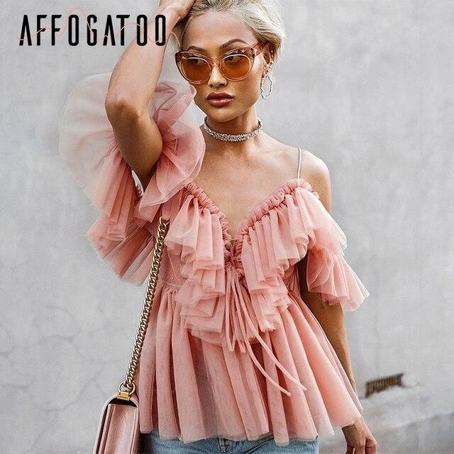 Affogatoo Sexy głębokie v neck backless w stylu vintage kobiety letnia bluzka elegancka wzburzyć off shoulder koszula topy kobieta Mesh bluzka blusas