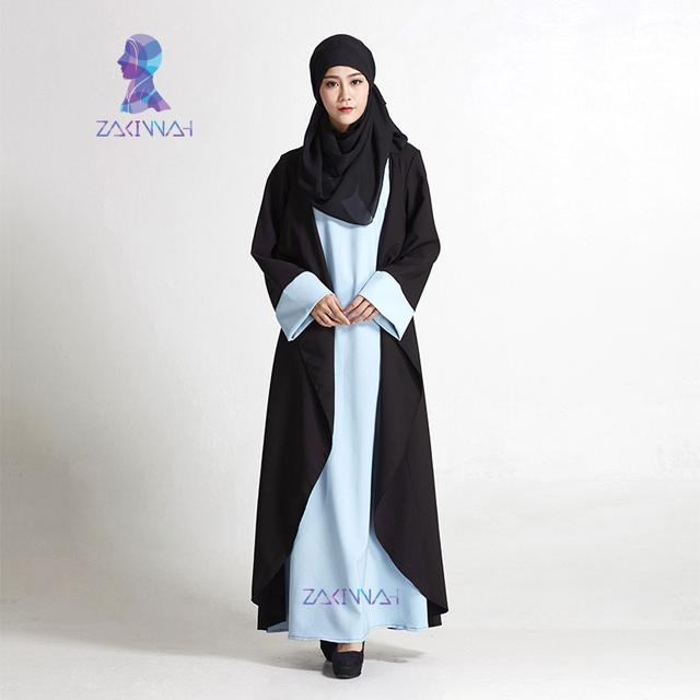 Nueva Negro Fashion Women Mangas Vestido Caftanes Más Tamaño Dubai Abaya Ropa Islámica Musulmán Túnica Musulmana de envío gratis