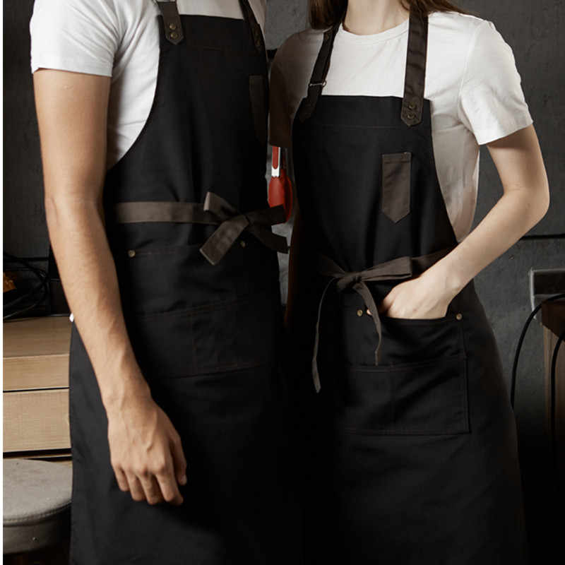 Khaki Coffee Black Cotton Apron Barista Bartender Baker Waitstaff Chef Restaurant Hotel Uniform Florist Gardener Work Wear D71