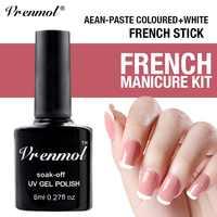 Vrenmol 8 ml Maniküre Kunst Set Weiß + Bohnen Paste Farbe Nagel Gel + freies Geschenk von Französisch Spitze Führt UV Gel Lack für Nagel Gel Polnisch