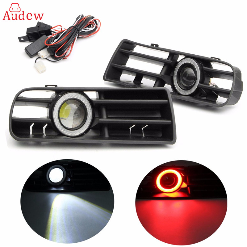 1 Pair(2Pcs) LED Fog Light Lamp Front Bumper Grille For VW Golf MK4 98-04 Angel Eyes Lamp Waterproof front bumper fog lamp grille led convex lens fog light angel eyes for vw polo 2001 2002 2003 2004 2005 drl car accessory p364