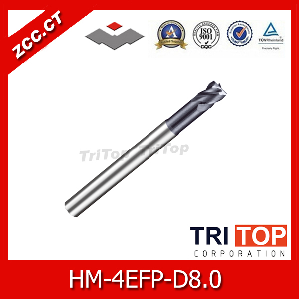 ZCC.CTHM/HMX-4EFP-D8.0 Solid carbide 4-flute flattened end mills with straight shank, long neck and short cutting edge