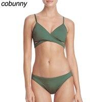 Cobunny Sexy Bikini Set Donne Push Up Costumi Da Bagno 2018 V Collo Biquini Femminile Maillot De Bain Costume Da Bagno Costume Da Bagno Olio Verde Bikini
