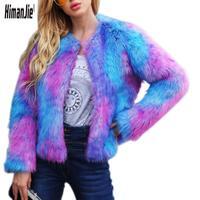 Women's Fashionable Long Sleeve Lapel Faux Fur Shearling Shaggy Coat Jacket Woman Winter Fur Coats