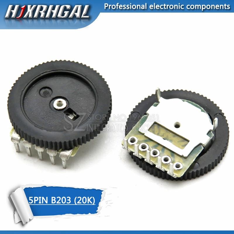 10 шт. двухзубчатый настраиваемый потенциометр B203 20K 5Pin 16*2 мм циферблат потенциометра конический громкость колеса дуплексный потенциометр ...