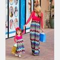 Hija de la madre Vestidos de Manga Larga patchwork Geometría wave impresión de la Mirada de la Familia Madre E Hija Vestido A Juego de Ropa de Algodón