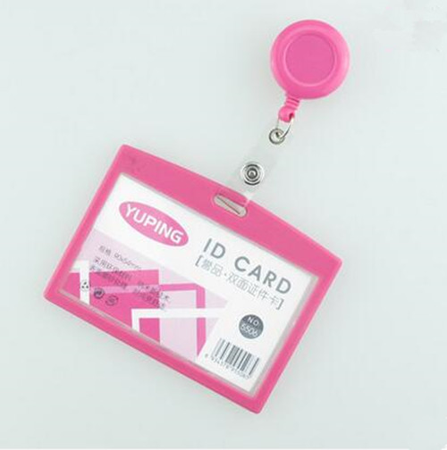 1pcs Hot Pink Color Retractable Badge Reel For Office Work Name Card Holder Ski Pass ID Bus Card Holder Horizontal Style