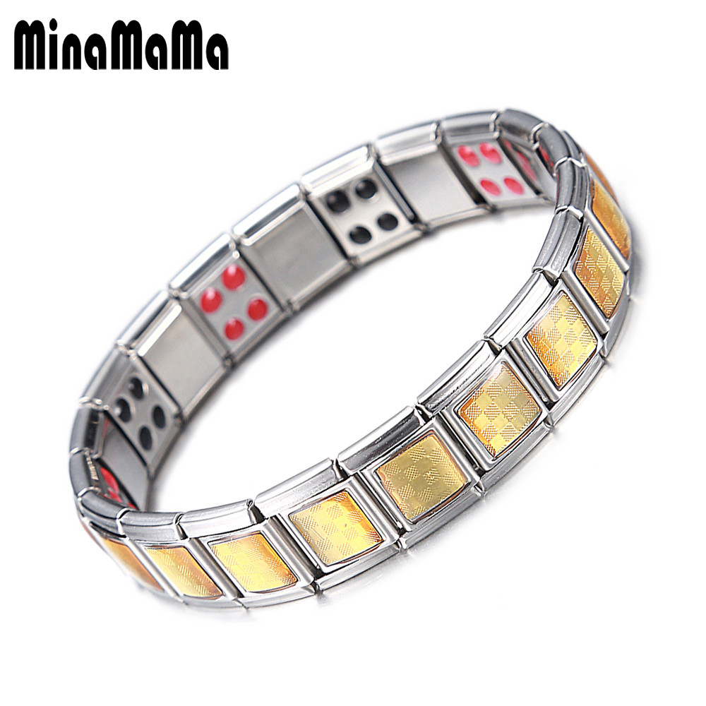 Men Stainless Steel Jewelry Medical Power Germanium Magnetic Bracelets For Women Mixing Health Element Bracelets Bangles