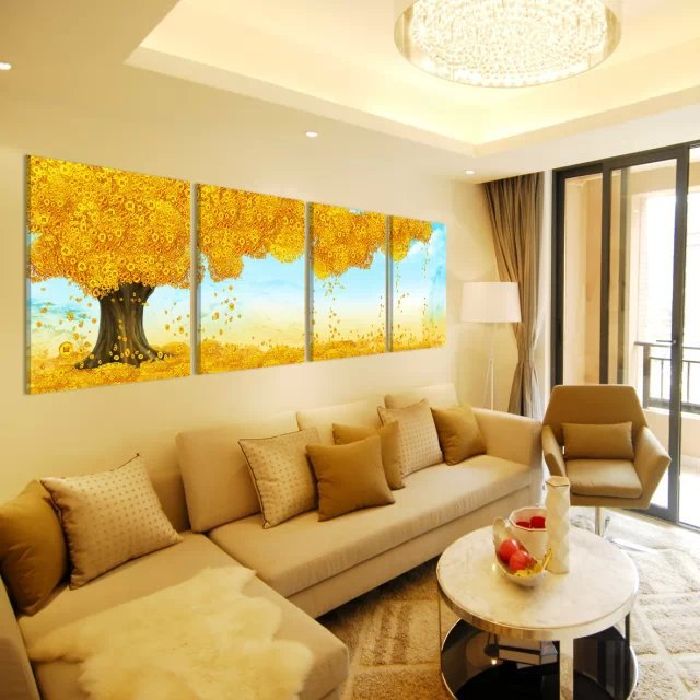 Gold Tree Blossom Abstract Wall Canvas Art Sets for Home Decoration ...