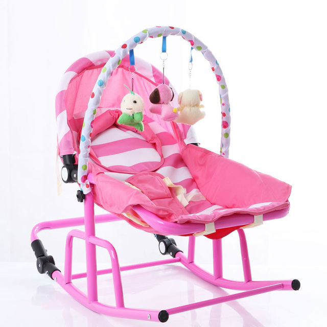 Newborn Baby Rocking Chair Comfort Toddler Cradle Deck Chair Sleeping Swing Lounge Chair Bouncers with Music Pillow Summer Mat 4