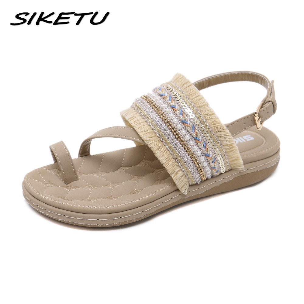 SIKETU Summer 2018 Women Flat Gladiator Sandals Shoes Woman Bohemia Flip Flop Frayed Fringe Tassel Casual Beach Sandals 35-42 fringe detail beach sandals