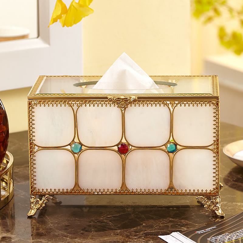 Classic court style golden glass tissue box Brief art exquisite home tissue box