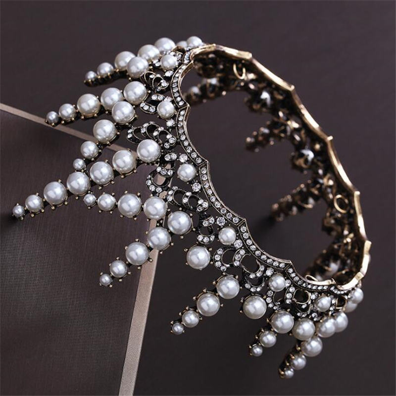 Vintage Baroque Princess Crown Headband Bridal Tiaras for Wedding Head Ornaments Pearls Circle Diadem Queen Hair Jewelry