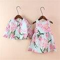 Nueva ropa de bebé niñas establece estampado floral ocasional otoño invierno ropa de las muchachas dress + ropa de los niños de la chaqueta coat dress set